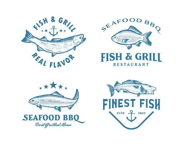 Colección de plantilla de diseño de logotipo de restaurante de mariscos de pescado