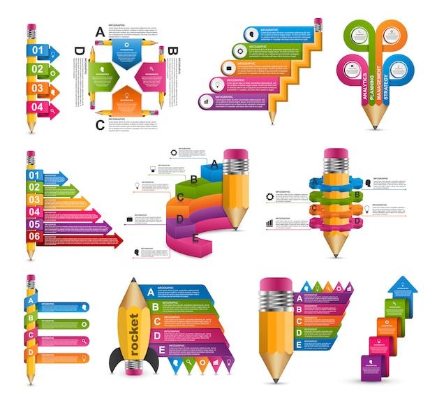 Colección de plantilla de infografías de educación.