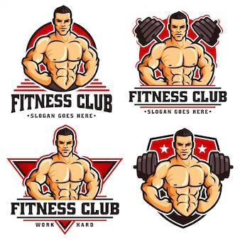 Una colección de plantilla de logotipo de culturista de gimnasio, con carácter de hombre musculoso