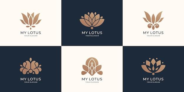 Colección de plantilla de logotipo de loto