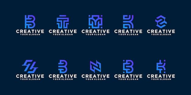 Colección de plantilla de logotipo de monograma abstracto. plano minimalista moderno para negocios
