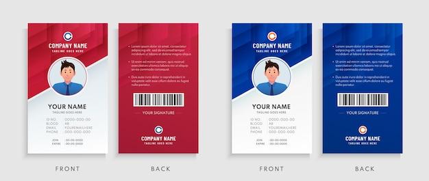 Colección de plantilla de tarjeta de identificación de oficina roja, azul y blanca.