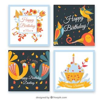 Colección de plantillas adorables de invitaciones de cumpleaños