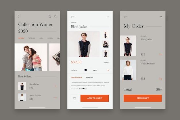 Colección de plantillas de aplicaciones de compras de moda