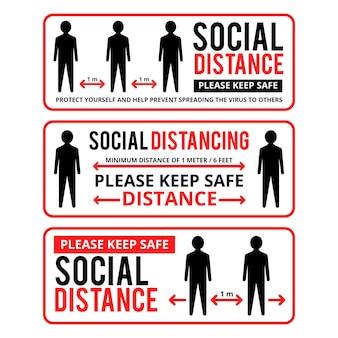 Colección de plantillas de banner para distanciamiento social.