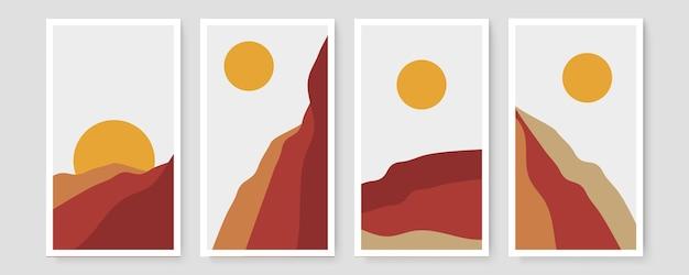 Colección de plantillas de banner orgánico abstracto. fondo mínimo en estilo boho con espacio para copiar texto. ilustración para portada, postal, papel tapiz, arte de la pared