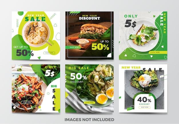 Colección de plantillas de banner de redes sociales de alimentos