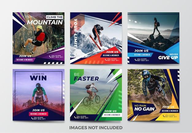 Colección de plantillas de banner de redes sociales de deporte