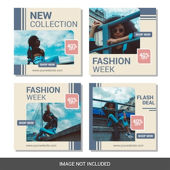 Colección de plantillas de banner de redes sociales de moda