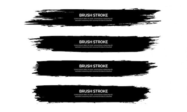 Colección de plantillas de banner de trazo de pincel negro