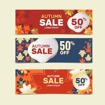 Colección de plantillas de banner de venta de otoño