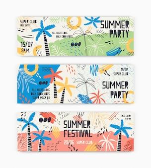 Colección de plantillas de banner web decoradas con palmeras exóticas, manchas, manchas y garabatos para la fiesta de baile de verano. ilustración moderna para el anuncio de evento de verano, publicidad.
