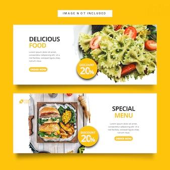 Colección de plantillas de banner de web de restaurante de comida