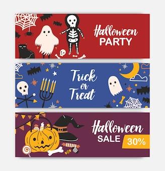 Colección de plantillas de banner web de vacaciones horizontales con personajes de halloween.