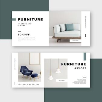 Colección de plantillas de banners de venta de muebles con fotos.