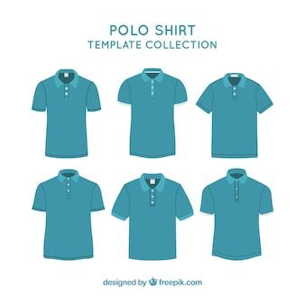 Colección de plantillas de camisetas de polo azules