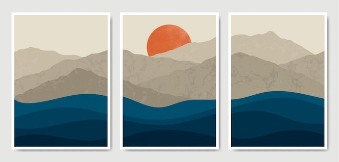 Colección de plantillas de carteles boho de paisaje moderno de mediados de siglo contemporáneo abstracto.