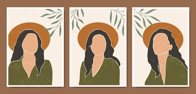 Colección de plantillas de carteles boho de retratos de caras modernas de mediados de siglo contemporáneo abstracto.