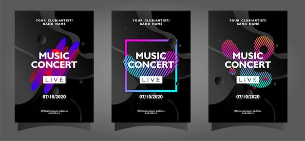Colección de plantillas de carteles de conciertos de música con formas abstractas