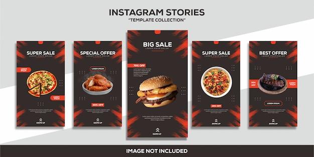 Colección de plantillas de comida de hamburguesas de instagram stories