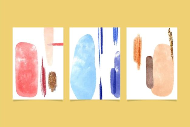 Colección de plantillas de cubiertas de formas abstractas de acuarela