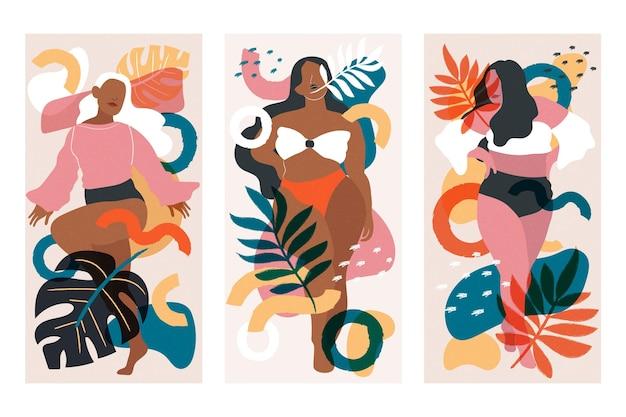 Colección de plantillas de cubiertas de formas abstractas dibujadas a mano