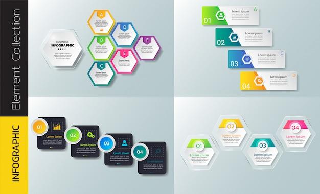 Colección de plantillas de diseño infográfico.