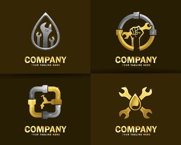 Colección de plantillas de diseño de logotipos de servicios de plomería