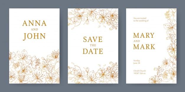 Colección de plantillas elegantes para volante, tarjeta save the date o invitación de boda con hermosas flores de sakura japonesas dibujadas a mano con líneas amarillas sobre fondo blanco. ilustración.