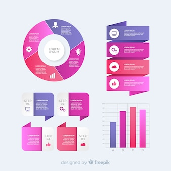 Colección de plantillas de elementos de infografía con degradado