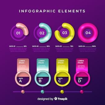 Colección de plantillas de elementos de infografías coloridos