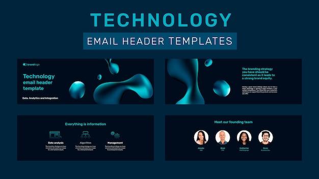 Colección de plantillas de encabezado de correo electrónico de tecnología