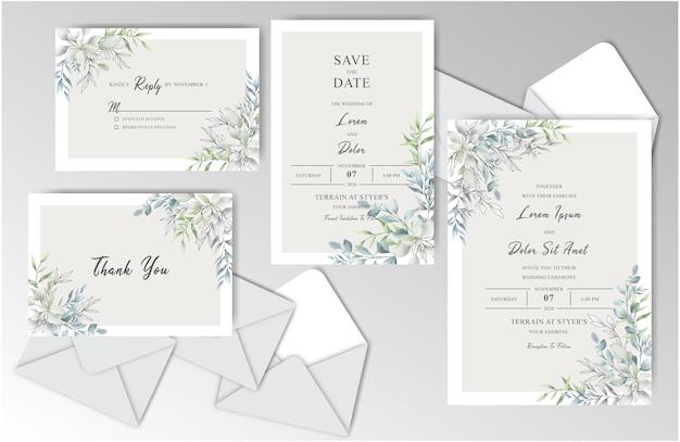 Colección de plantillas estacionarias de boda de acuarela con hojas verdes