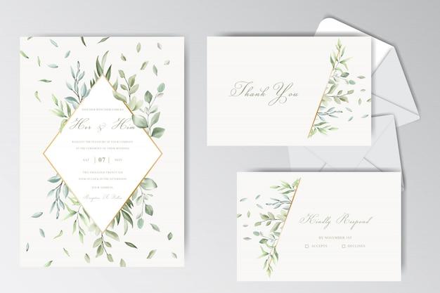 Colección de plantillas estacionarias de boda hermosa acuarela con follaje