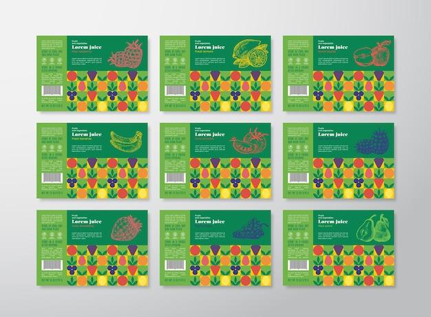 Colección de plantillas de etiquetas de jugo