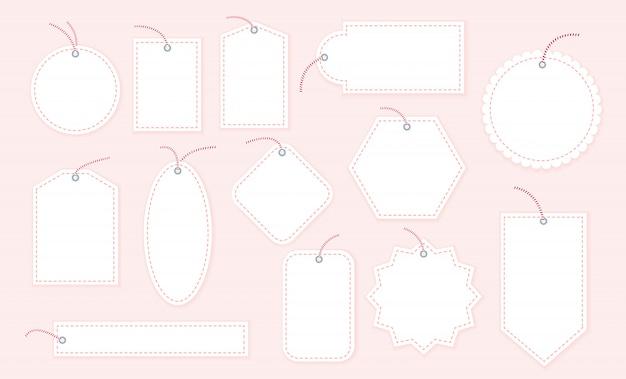 Colección de plantillas de etiquetas de regalo en blanco, diferentes formas aisladas