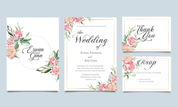 Colección de plantillas fijas de la boda floral
