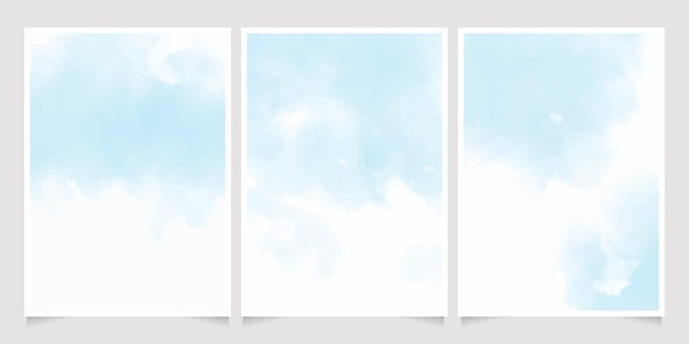 Colección de plantillas de fondo de tarjeta de invitación 5 x 7 salpicaduras de lavado húmedo acuarela azul suave hermosa