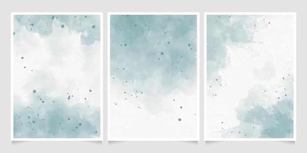 Colección de plantillas de fondo de tarjeta de invitación 5 x 7 salpicaduras de lavado húmedo acuarela verde pastel