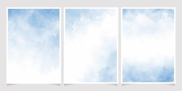 Colección de plantillas de fondo de tarjeta de invitación 5x7 de lavado mojado de acuarela azul cian claro
