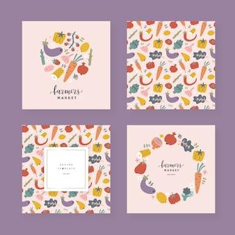Colección de plantillas de frutas y verduras con espacio de copia, marcos decorativos con ilustraciones dibujadas a mano.