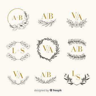 Colección de plantillas de grabado para bodas