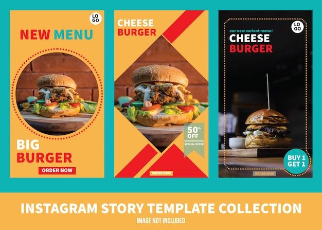 Colección de plantillas de historia de burger instagram