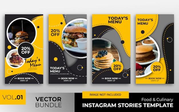 Colección de plantillas de historias de instagram de alimentos