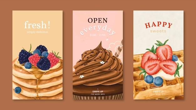 Colección de plantillas de historias de instagram de panadería dibujadas a mano