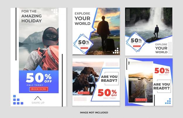 Colección de plantillas de historias y publicaciones de redes sociales de viajes