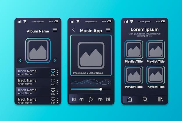 Colección de plantillas de interfaz de la aplicación del reproductor de música
