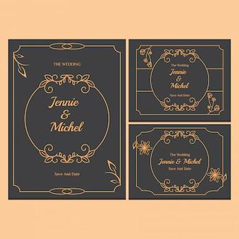 Colección de plantillas de invitación de boda floral