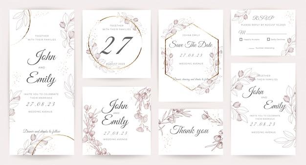 Colección de plantillas de invitación de tarjeta de boda