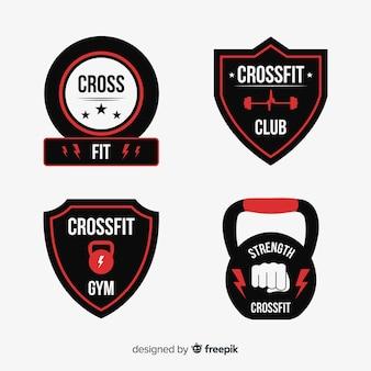 Colección de plantillas de logo de crossfit en diseño plano